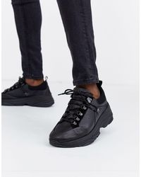 SELECTED Chunky Sole Premium Leather Trainer - Black