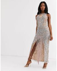 A Star Is Born Fringe Embellished Maxi Dress-multi - Multicolour