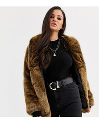 ASOS Asos Design Petite Stand Collar Faux Fur Coat In Brown