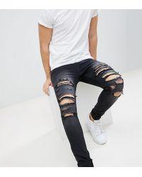 Liquor N Poker - Black Wash Heavy Rips Super Skinny Jeans - Lyst
