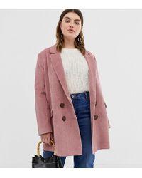 ASOS Asos Design Curve Cord Boyfriend Coat - Pink