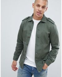 Replay Star Embroidery Military Taped Overshirt In Green