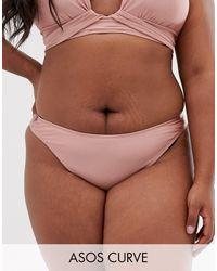 ASOS ASOS DESIGN Curve - Slip bikini sgambati visone lucido - Marrone