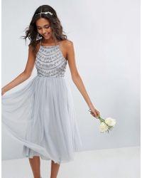 ASOS - Bridesmaid Delicate Beaded Strappy Back Midi Dress - Lyst