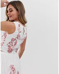 LACE & BEADS Floral Embroidered Sleeveless Crop Top Co-ord - White