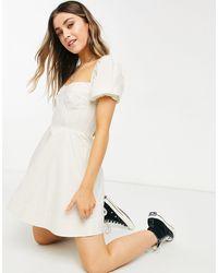 Bardot Corset Detail Puff Sleeve Mini Dress - Yellow