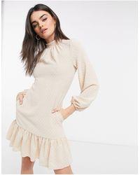 Closet Платье Мини Кремового Цвета С Высоким Воротом, Объемными Рукавами И Оборками По Краю -белый - Естественный