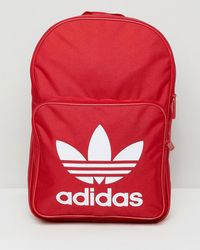 33728493cd adidas Originals - Large Trefoil Logo Backpack In Red Dq3157 - Lyst