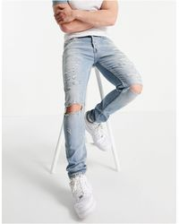 TOPMAN Organic Cotton Blend Stretch Skinny Jeans With Rips - Blue