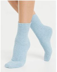Monki Пушистые Трикотажные Носки Голубого Цвета Cozy-голубой - Синий