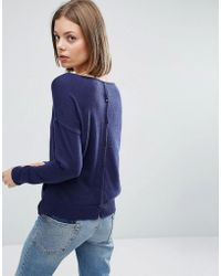 See U Soon - Jumper With Button Back - Navy - Lyst