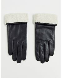 ASOS Leather Gloves With Touch Screen And Borg Trim - Black