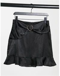 Lola May Satin Skirt With Ruffle Detail - Black