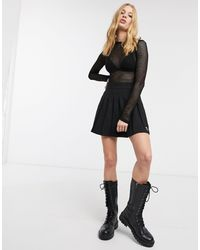 Bershka Mini Pleated Tennis Skirt - Black