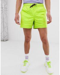 ASOS Pantaloncini slim corti verde fluo con coulisse a contrasto