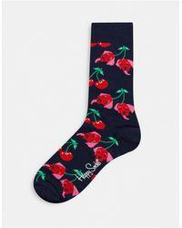 Happy Socks Chaussettes motif cerises - Bleu