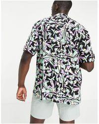 Pull&Bear Фиолетовая Рубашка С Геометрическим Принтом -фиолетовый Цвет - Многоцветный
