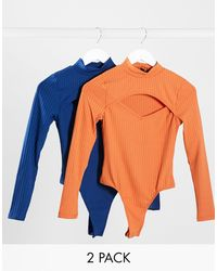 Missguided 2 Pack Of Ribbed Cut Out Bodysuits - Orange