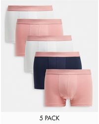 ASOS 5 Pack Trunks With Pastel Pink Waistband - Blue
