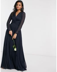 ASOS Bridesmaid Ruched Waist Maxi Dress With Long Sleeves And Pleat Skirt - Blue