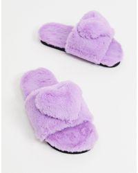 Monki Лиловые Слиперы Из Переработанного Искусственного Меха E Love-фиолетовый - Пурпурный