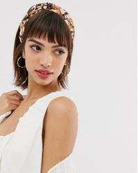 River Island Monnogrammed Hair Scarf In Cream - Brown