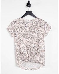 Abercrombie & Fitch T-shirt noué à l'avant - Léopard - Multicolore