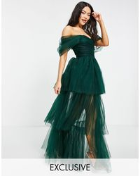 LACE & BEADS Exclusive Off Shoulder Tulle Maxi Dress - Green