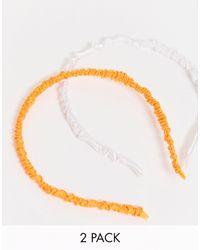 ASOS - Набор Из 2 Атласных Обручей Оранжевого И Белого Цвета - Lyst