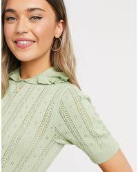 Monki Tonja Organic Cotton Knitted Top - Green