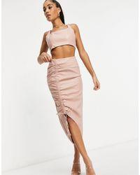 Missguided Светло-розовая Присборенная Юбка Миди Из Искусственной Кожи (от Комплекта)-розовый Цвет
