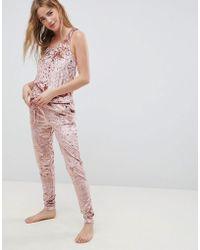 Chelsea Peers - Nyc Pink Velvet Onesie - Lyst