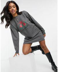 Skinnydip London Skinny Dip Graphic Print Jumper Dress - Grey