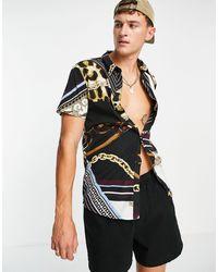 Another Influence Рубашка С Платочным Принтом -черный Цвет