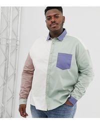 ASOS Plus - Exclusief Oversized Jaren 90 Overhemd Met Aangenaaide Stukken - Meerkleurig