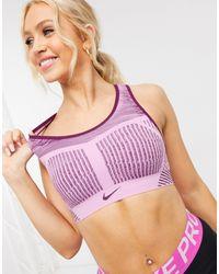Nike Фиолетовый Бюстгальтер С Высокой Степенью Поддержки Fe/nom - Пурпурный