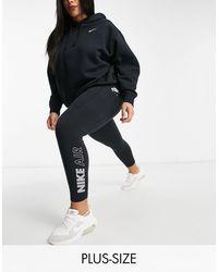 Nike Черные Леггинсы С Завышенной Талией И Логотипом На Голени Air Plus-черный Цвет