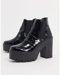 TOPSHOP High Chelsea Boots - Black