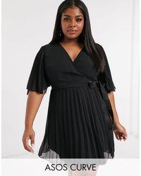 ASOS Curve Exclusive Mini Dress With Kimono Sleeve And Tie Waist - Black