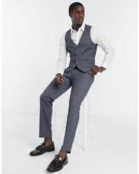 Farah - Grey Check Slim Fit Suit Trousers - Lyst