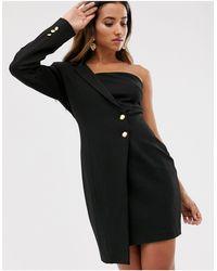 UNIQUE21 One Shoulder Tuxedo Dress-black