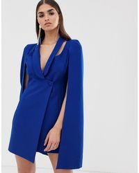 Lavish Alice Vestitino stile blazer cobalto con mantella - Blu