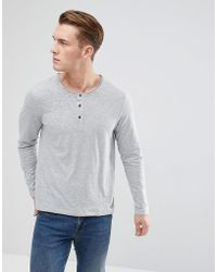 Esprit - Long Sleeve T-shirt With Henley Neck In Grey - Lyst