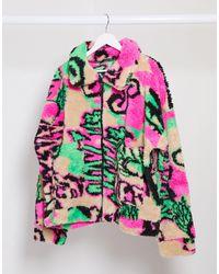 Jaded London Oversized Festival Fleece Jacket - Multicolor