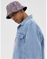 Pretty Green All Over Paisley Print Reversible Bucket Hat - Blue