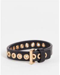 AllSaints Leren Armband Met Gouden Gesp - Zwart