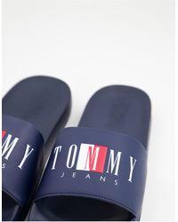 Tommy Hilfiger Темно-синие Шлепанцы С Текстовым Логотипом -темно-синий