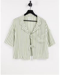 Native Youth Open Tie Front Holiday Shirt - Green