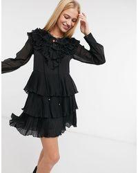 River Island Черное Плиссированное Платье Мини С Оборками -черный