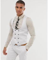 ASOS Wedding Skinny Suit Waistcoat In Stretch Cotton In Ice Grey - Gray